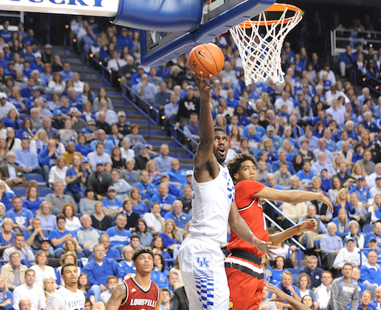 Kentucky's Alex Poythress drives to the basket in a win over Louisville last week (Bill Thiry Photo)