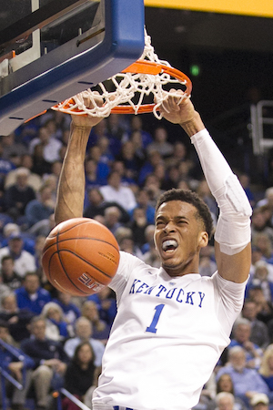 Skal Labissiere slams home two of his 12 points Wednesday night (Tammie Brown Photo)