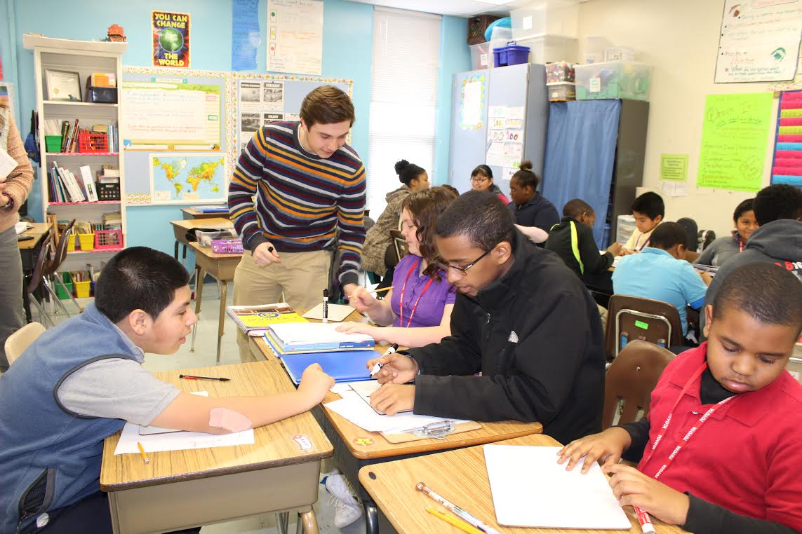 Twice a month, the Dunbar group spends an hour on Wednesdays at BTW, where the elementary students appreciate the special attention and extra help with math (Photo Provided)