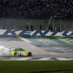 Kyle Bush rebounded from a major injury at Daytona early in the 2015 season to capture the NASCAR Sprint Cup Series Quaker State 400 race at the Speedway in July (Photo Provided)