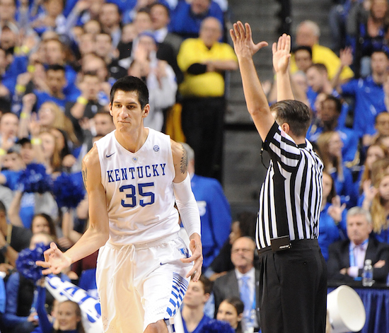 Derek Willis reacts after making a 3-pointer in the second half of a win over Tennessee Thursday night (Bill Thiry Photo)