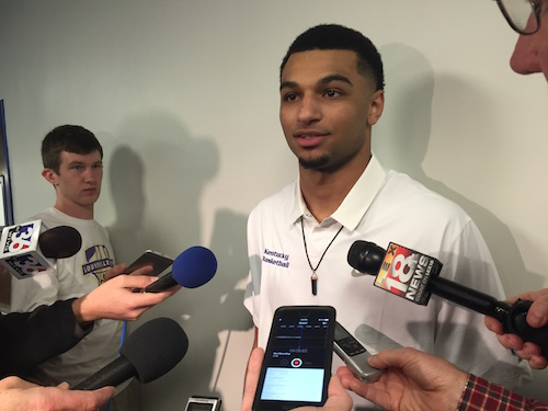 Jamal Murray talks to reporters after declaring for the NBA Draft Friday (Keith Taylor Photo)