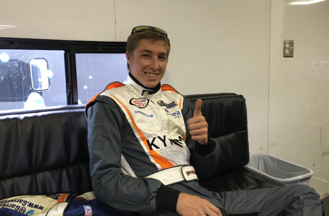 NASCAR XFINITY Series driver Garrett Smithley in his trailer before a weekend race at Kentucky Speedway. Smithley also drove in the NCWTS race Thursday, thanks to a sponsorship from Mubea and KY Fame (Photos by Mark Hansel)
