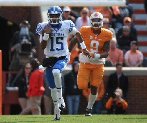 Stephen Johnson and the Wildcats rushed for 443 yards in a 49-36 loss at Tennessee Saturday (UK Athletics Photo)