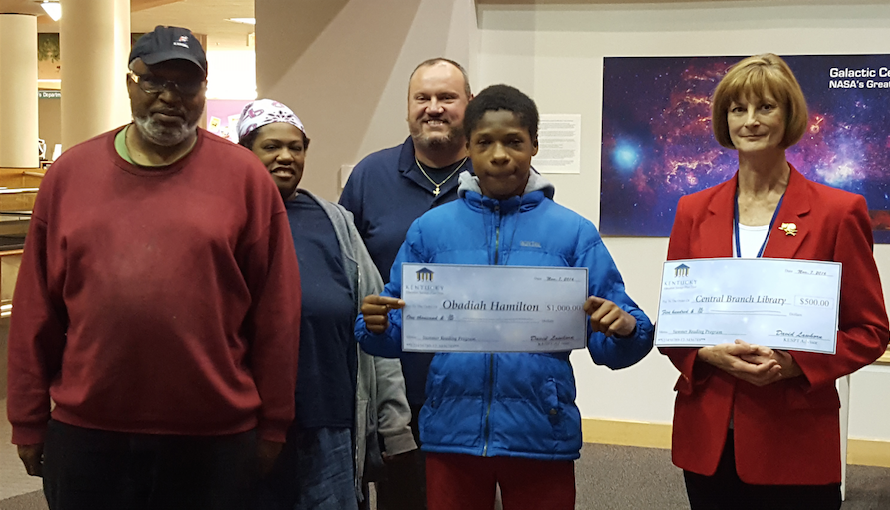Eight children across Kentucky were selected as winners and will receive a $1,000 KESPT college savings plan account. The libraries where they participated in the reading program will receive $500 (Photo by Lexington Public Library)