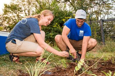 Rachel Hart and Jerrod Penn plant a monarch waystation on UK's Spindletop Farm (Photo by Stephen Patton)