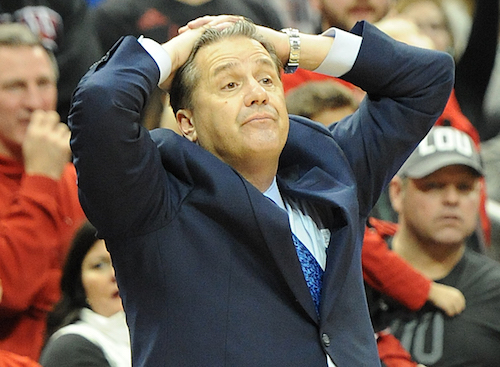 Kentucky coach John Calipari makes an unhappy gesture during his team's loss to Louisville Wednesday night (Bill Thiry Photo)