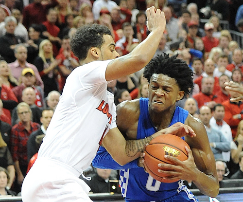 De'Aaron Fox drives to the basket during UK's loss at Louisville Wednesday. The Cats are taking a four-day break for Christmas before coming back to campus Monday (Bill Thiry Photo)