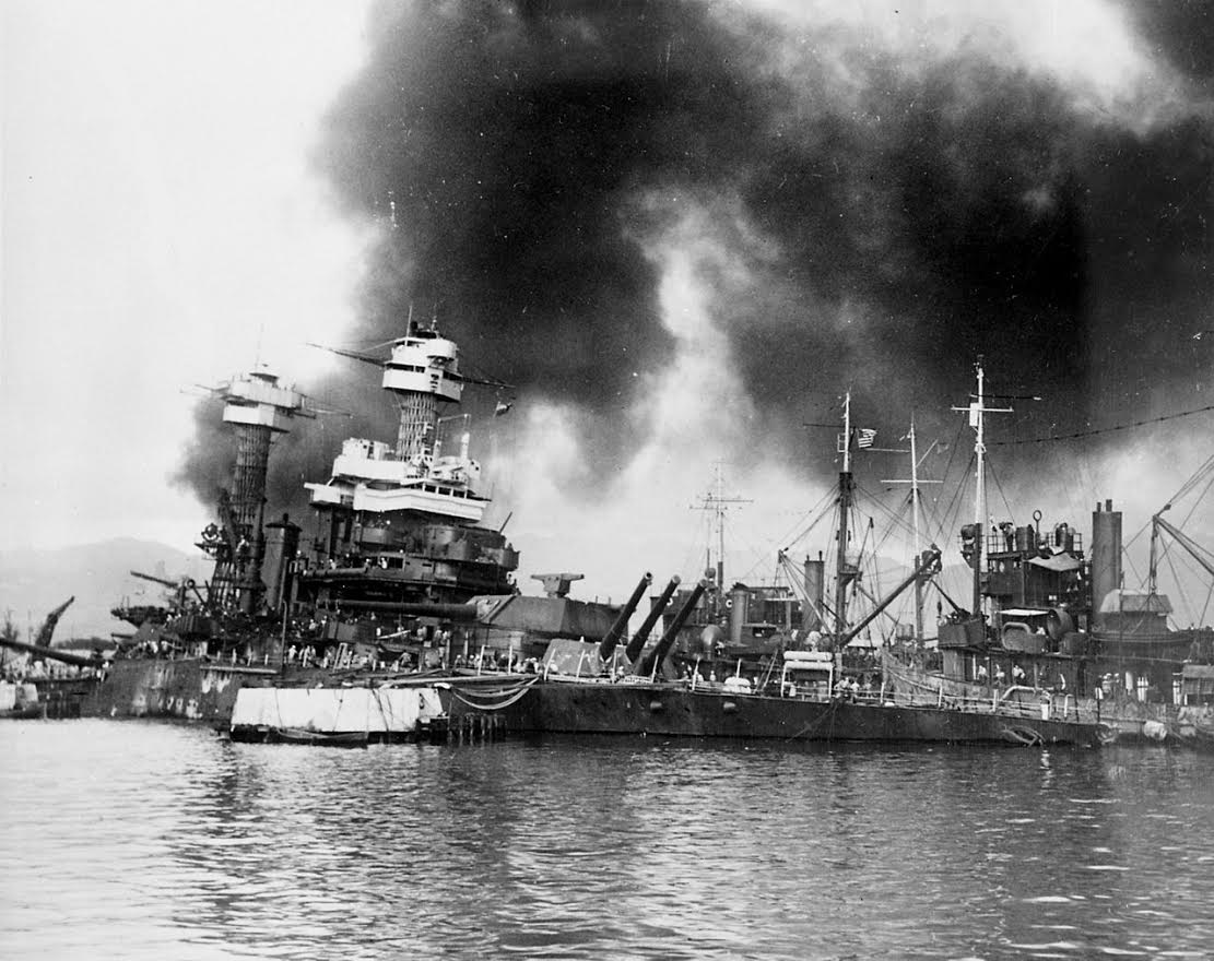 U.S.S. California on fire as it sinks at Pearl Harbor (Photo Provided)