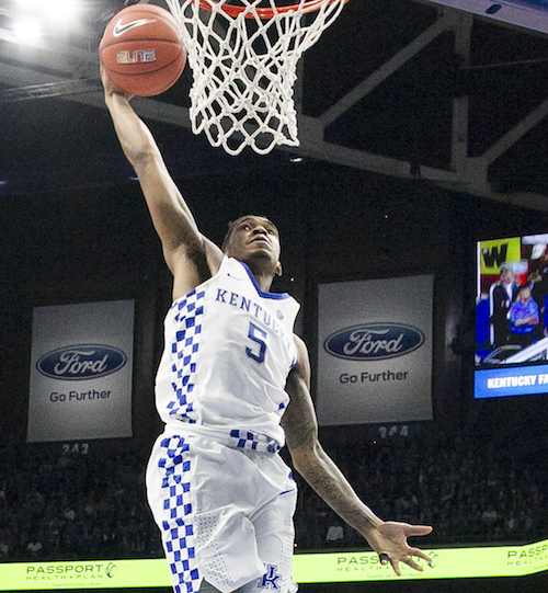 Kentucky guard Malik Monk slams home the ball in UK's win over Texas A&M earlier this week at Rupp Arena (Tammie Brown Photo)