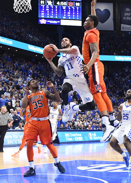 Mychal Mulder drives the lane for a shot in Kentucky's win over Auburn Saturday at Rupp Arena (Bill Thiry Photo)